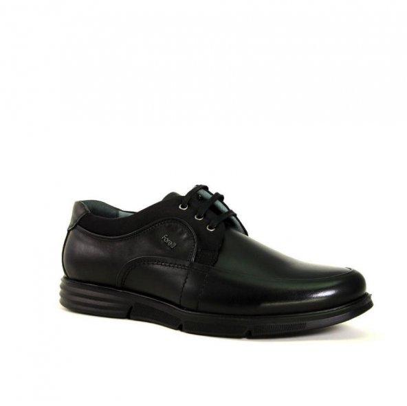 Forelli 69001-H Merdane Hafif Taban Geniş Kalıp Siyah Ayakkabı