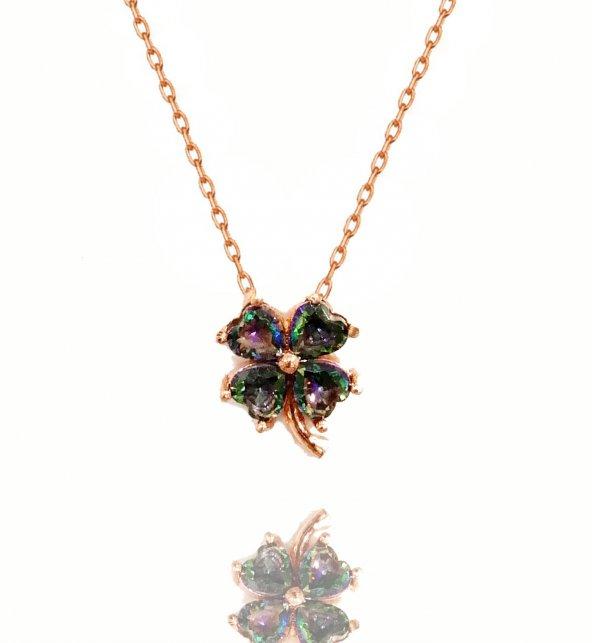Topaz Taşlı Yonca Yaprağı 925 Ayar Gümüş Kolye [ Yaprak Çiçek Papatya]