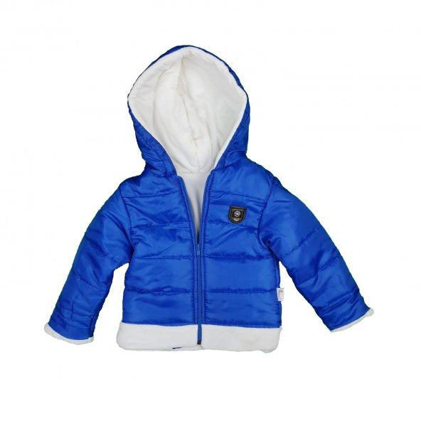 Erkek Bebek Kışlık Kapşonlu Mont 2-4 Yaş Mavi - C74089-1