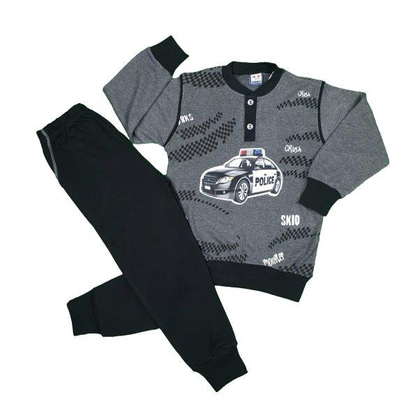 Erkek Çocuk Police Baskılı Pijama Takımı 4-7 Yaş Gri - C74145