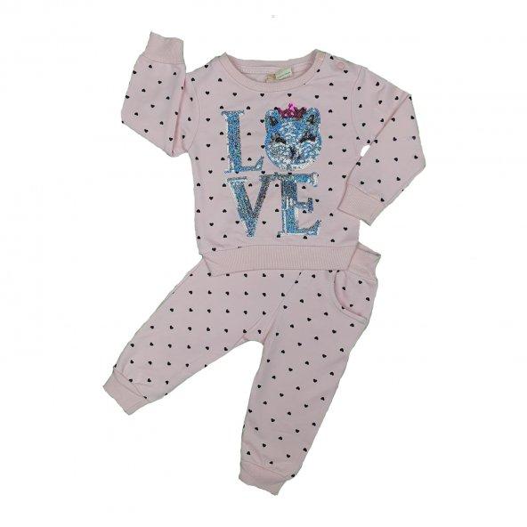 Kız Bebek Pullu Love Yazılı İkili Takım 9-24 Ay Pembe - C74100
