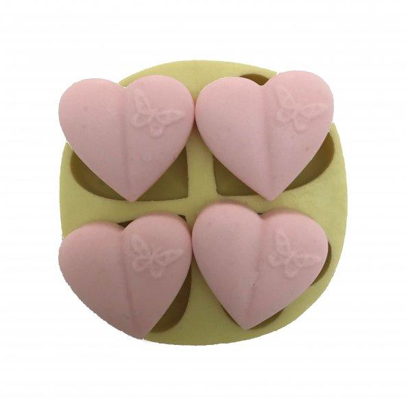 4 Lü Kalp Şeklinde Silikon Pasta ve Seker Hamuru Kalibi 3x3x1 cm