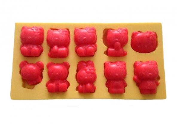 Bellona Kitty Ve Sevimli Ayıcık Şeklinde Silikon Pasta ve Seker Hamuru Kalibi 4,5x3,5x2 cm