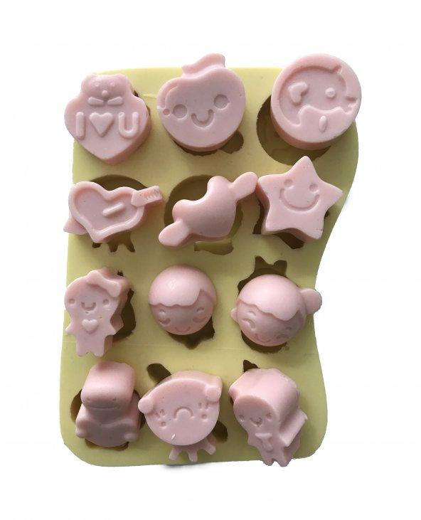Bebek Temalı 12 Farklı Model Silikon Pasta ve Seker Hamuru Kalibi 2,5x2,5x1,5 cm