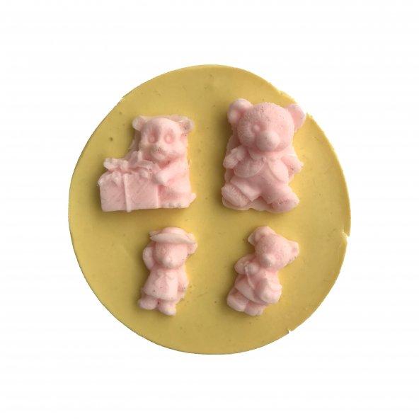4 Lü Ayıcık Şeklinde Silikon Pasta ve Seker Hamuru Kalibi 2x3x1 cm