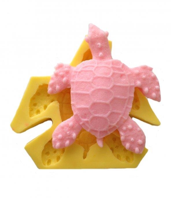 Kaplumbağa Şeklinde Silikon Pasta ve Seker Hamuru Kalibi 8,5x8x2 cm