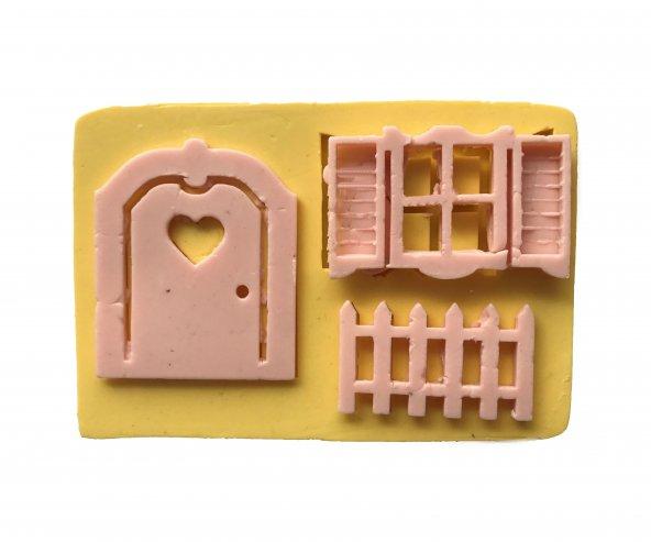 Kalpli Kapı Çit Ve Pencere Temalı Silikon Pasta ve Seker Hamuru Kalibi 7,5x6,5x1 cm