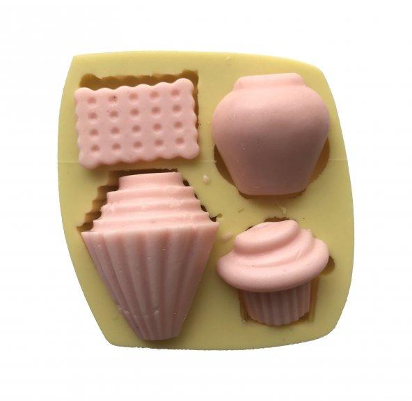 Cupcake Ve Mutfak Malzemesi Şeklinde Silikon Pasta ve Seker Hamuru Kalibi 3,5x4x1,5 cm