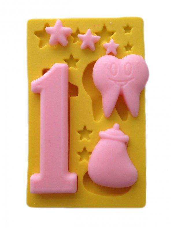 Biberon Diş Ve 1 Yazılı Silikon Pasta ve Seker Hamuru Kalibi 7x1,5x1 cm