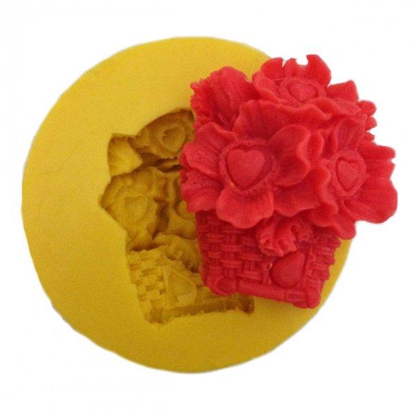 Çiçek Sepeti Şeklinde Silikon Pasta ve Seker Hamuru Kalibi