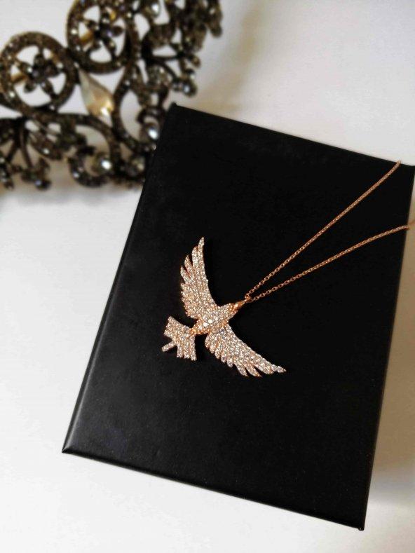 Zirkon Taşlı Anka Kuşu 925 Ayar Gümüş Kolye [ Albatros Kuş ]