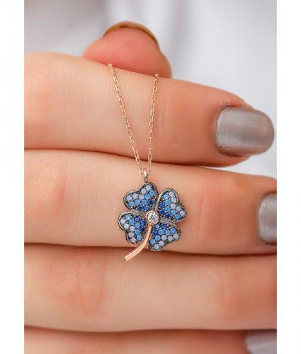 Zirkon Taşlı Yonca Yaprağı 925 Ayar Gümüş Kolye [ Çiçek Yaprak ]
