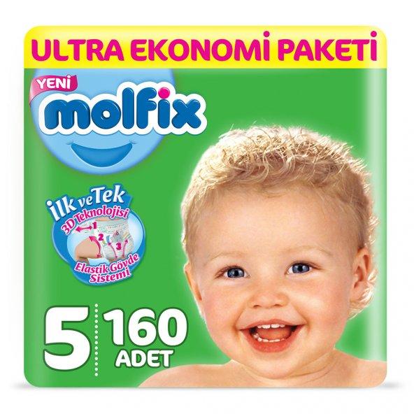 Molfix Bebek Bezi 5 Beden Junior Ultra Ekonomi Paketi 160 Adet
