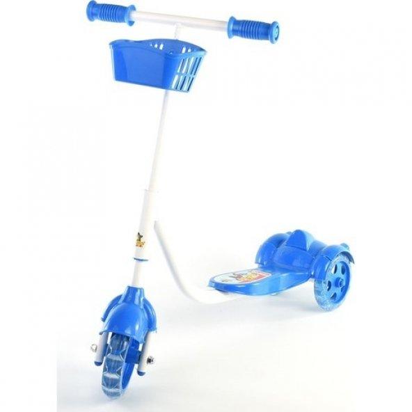 Scooter 3 Tekerli Sepetli Fren Sistemli Mavi Renk