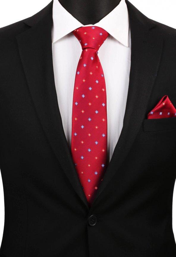 Kırmızı Küçük Desen Mendilli Klasik Kravat 2992