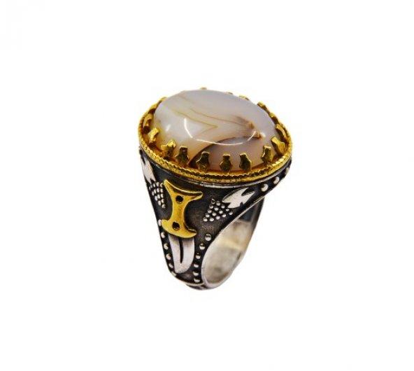 Yemen Akik Taşlı Yanları Hançer İşleme Özel Tasarım Gümüş Yüzük