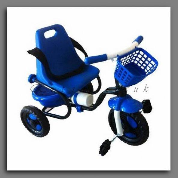 Babyhope 101 Prens Bısıklet uc teker teker Sepetli ve Suluklı Mavı