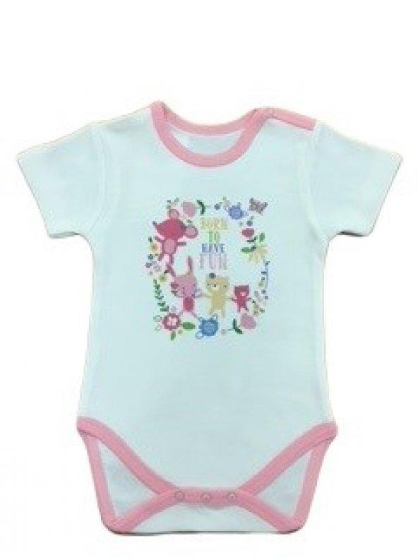 Luggi Baby Kız Çiçekli Kısakollu Badi LG-4034