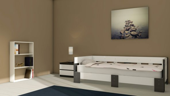 NEVRAMO Nergis Montessori  Karyola -Beyaz/Antrasit Gri- 90x190 Yatağa Uyumlu