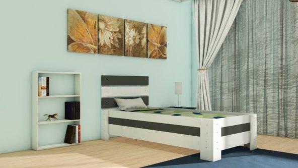 NEVRAMO Abaka Montessori  Karyola -Beyaz/Antrasit Gri- 90x190 Yatağa Uyumlu