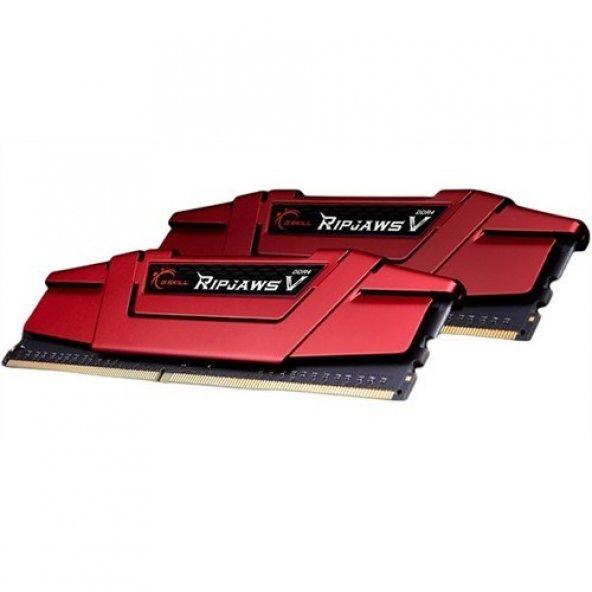 GSKILL RipjawsV 8GB DDR4 2400Mhz CL15 Tek Modül 1.2V Kırmızı  Bellek (F4-2400C15S-8GVR)