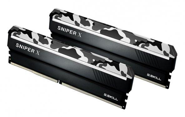 GSKILL SniperX 16GB (2X8) DDR4 3000Mhz CL16 1.35V Gri Kamuflaj (F4-3000C16D-16GSXWB)
