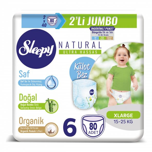 Sleepy Natural Külot Bez 6 Beden Xlarge 2X2Lİ Jumbo 80 Adet