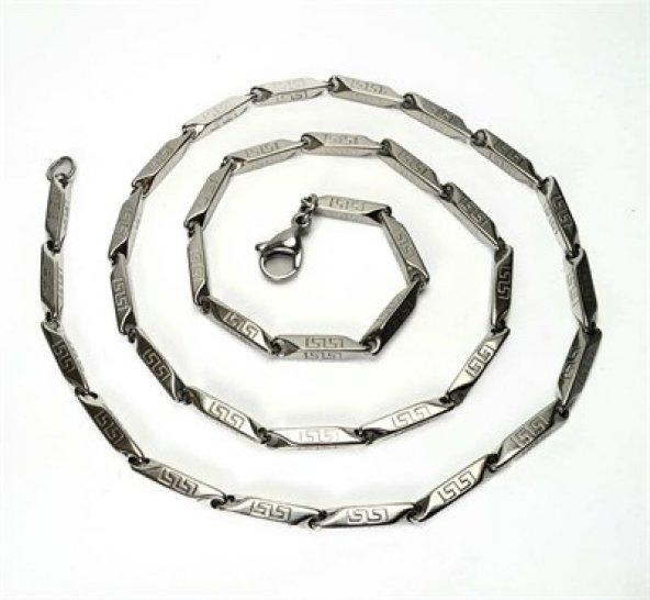 Grek Desenli Çelik Erkek Zincir Kolye İnce Model