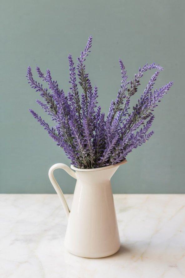 İtalyan Saksıda Mor Provence Yapay Çiçek Lavanta