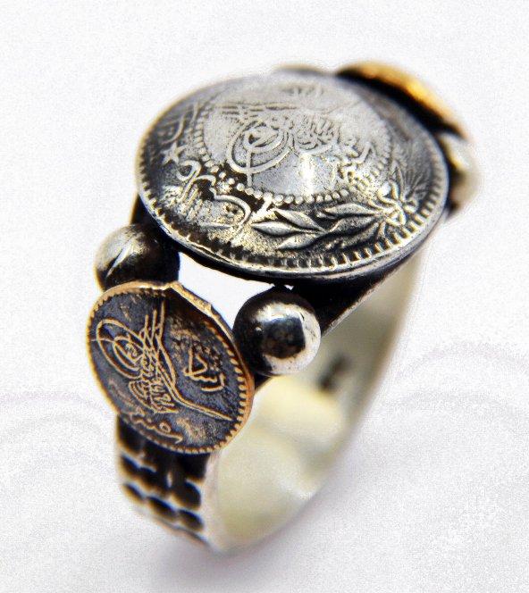 Osmanlı Tuğralı 925 Ayar Erkek Gümüş Yüzük Eskitme Model