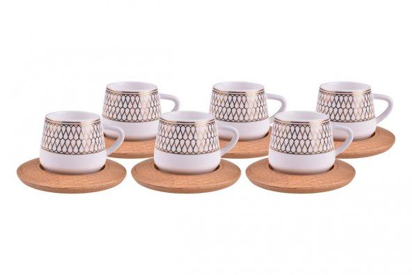 Hattat - 6 Kişilik Kahve Takımı Desen Altlıklı
