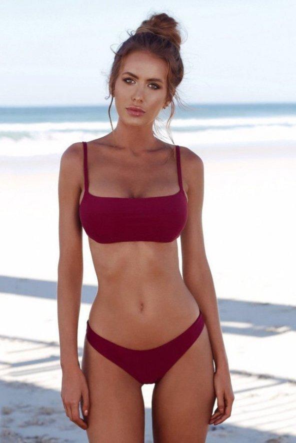 Ewa Angel Bordo Şık Bikini Takım