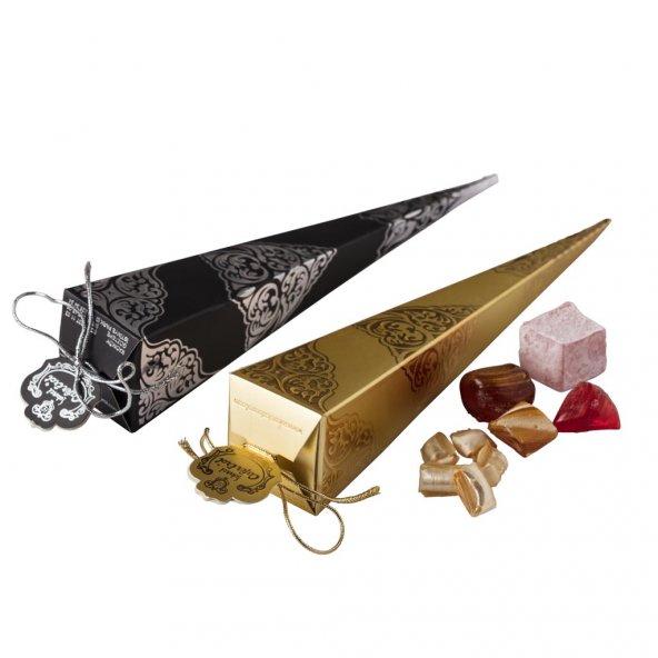 MEVLÜT ŞEKERİ KARTON KÜLAH SİYAH ve GOLD - Gold (Altın Sarısı)