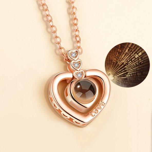 Sevgiliye Hediye 100 Dilde Seni Seviyorum Kolye Taşlı Kalp Model