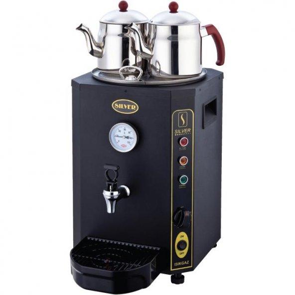 Elektrikli Çay Kazanı Siyah Jumbo Çift Demlikli 13 Lt