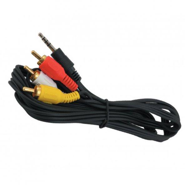 Elektromer 3157 3.5 mm to 3RCA 1,2 Mt. Uydu Alıcı kablosu