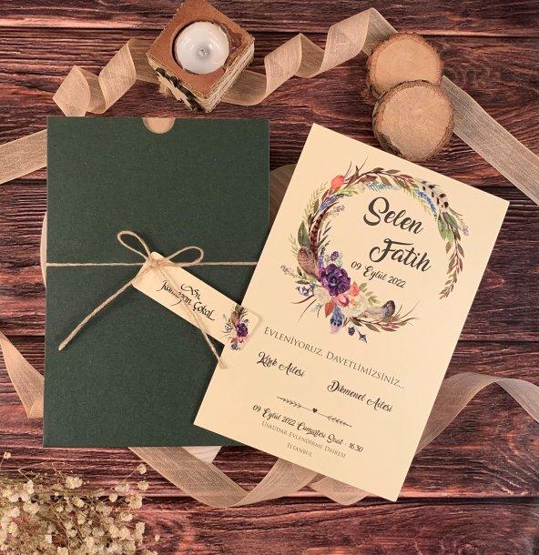 Yeşil Zarflı İplikli Çiçekli Düğün Ve Nişan Davetiyesi 100 Adet