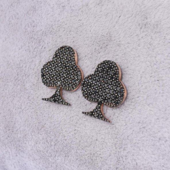 925 Ayar Gümüş İskambil Sinek Figürlü Küpe