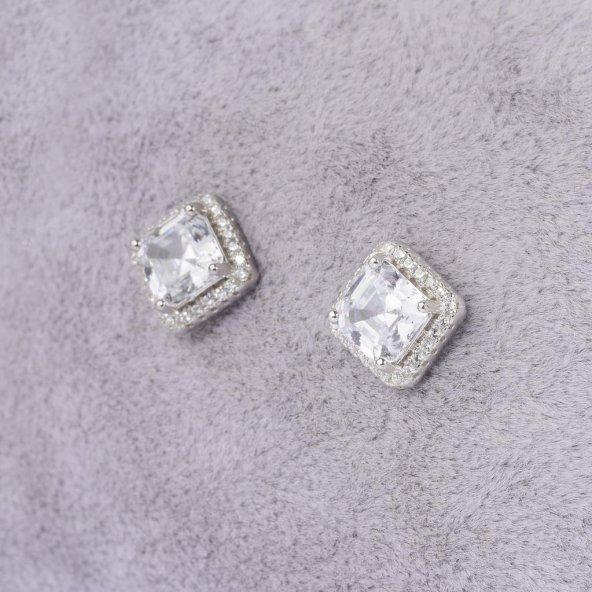925 Ayar Gümüş Büyük Boy Kare Montür Tek Taş Küpe