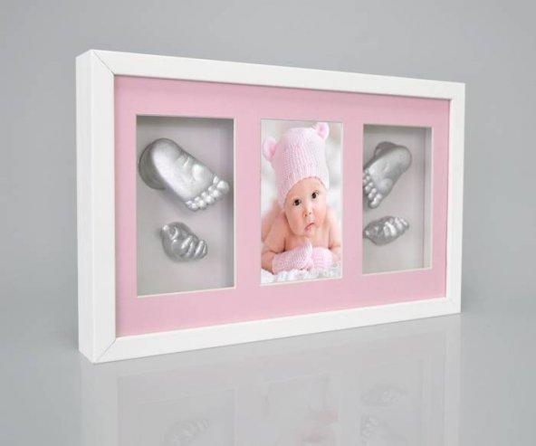 Küçük İzler resimli çerçeveli, 3 bölmeli, bebek 2 el- 2 ayak izi heykel seti