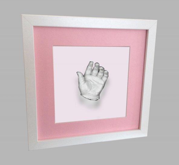 Küçük İzler beyaz çerçeveli 3 boyutlu çocuk el izi heykel seti ( aljinat ile )