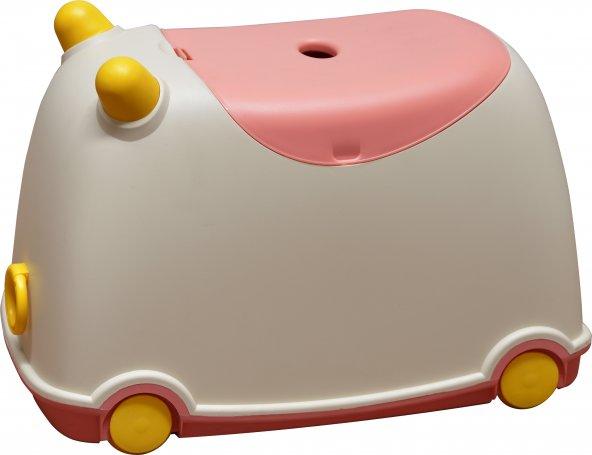 Hipaş Plastik Tekerlekli ve Kapaklı Oyuncak Saklama Kutusu - Pembe