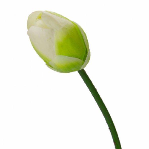 Kapalı Beyaz Nilüfer Yapay Çiçek 88 cm