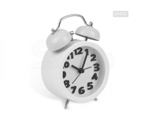 Twin Bell 3D Masaüstü Alarmlı Saat - Beyaz