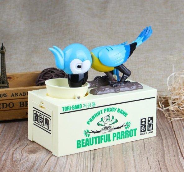 Parrot Piggy Bank Para Yiyen Papağan Kumbara - Mavi