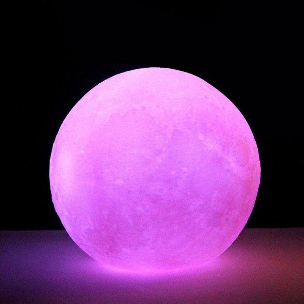 Pembe 3D Ay Gece Lambası Dekoratif Küre Led Başucu Lambası