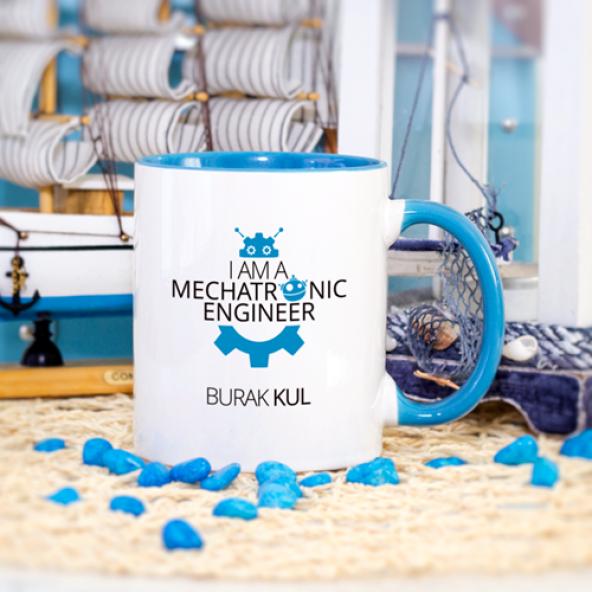 Kişiye Özel Mavi Renkli Mekatronik Mühendisi Kupa Bardak