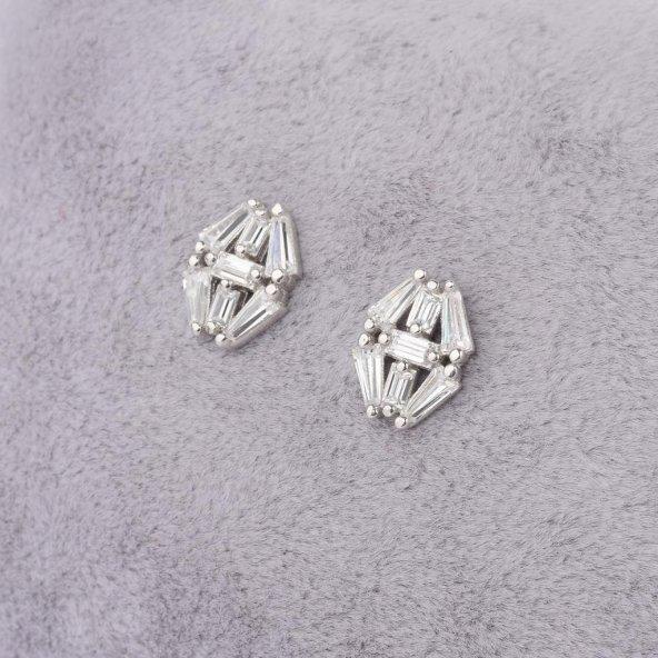 925 Ayar Gümüş Baget Taşlı Küpe