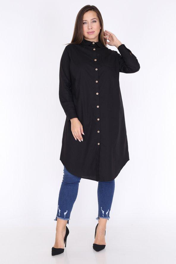Schık Kadın Buyuk Beden Cepli Gomlek Elbise Siyah 1594