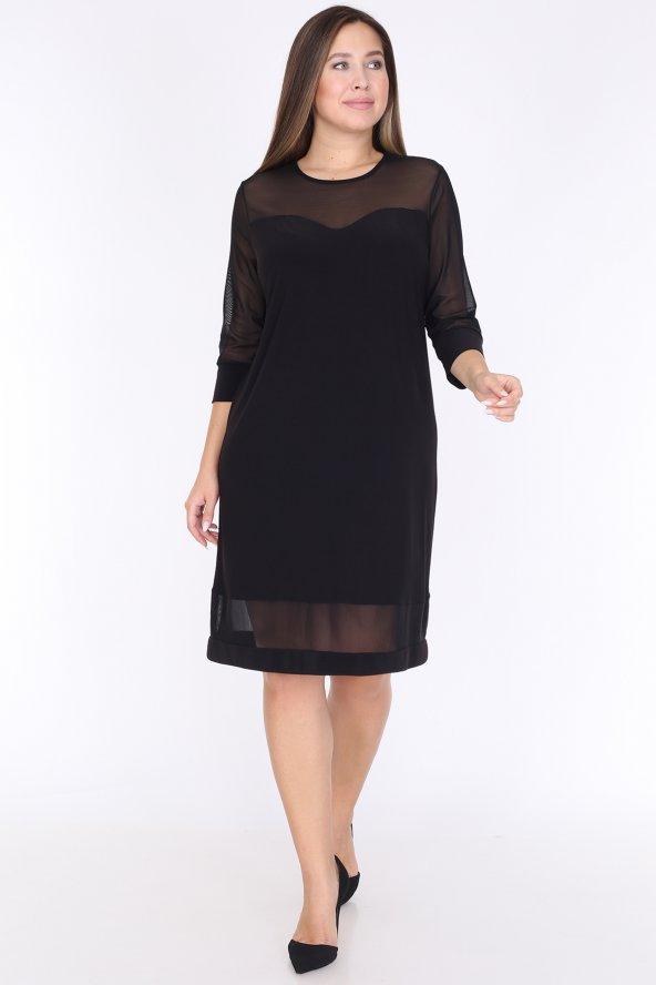 Schık Kadın Büyük Beden Tül Detaylı Elbise Siyah 1595